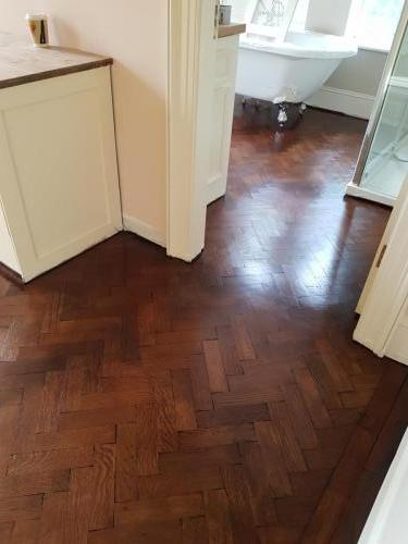 Herringbone with Brown Mahogany Stain